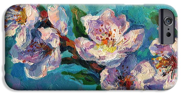 Cherry Blossoms iPhone Cases - Peach Blossoms flowers painting iPhone Case by Svetlana Novikova