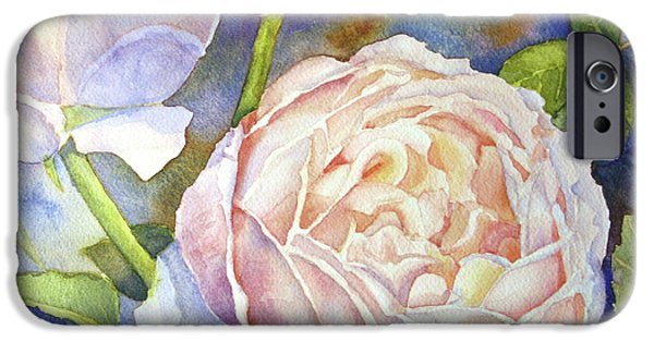 Florals iPhone Cases - Peach Roses iPhone Case by Bonnie Rinier