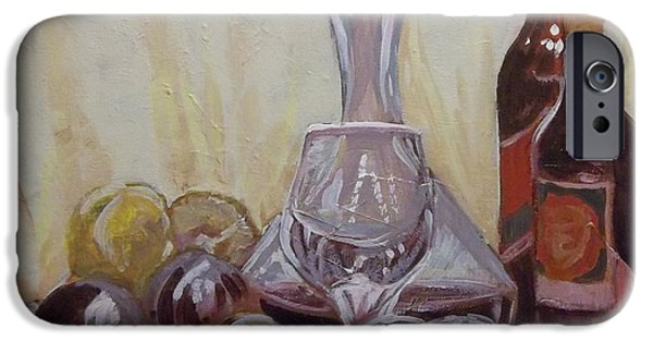 Wine Bottles iPhone Cases - Peaches and Wine iPhone Case by Fred Urron