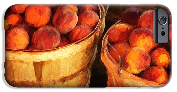 Basket iPhone Cases - Peaches By The Bushel  iPhone Case by Clare VanderVeen