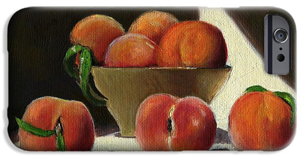 Wooden Bowl iPhone Cases - Peaches iPhone Case by Karyn Robinson