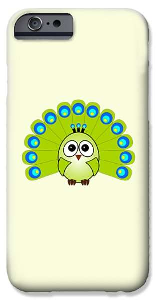 Baby Bird Mixed Media iPhone Cases - Peacock  - Birds - Art for Kids iPhone Case by Anastasiya Malakhova