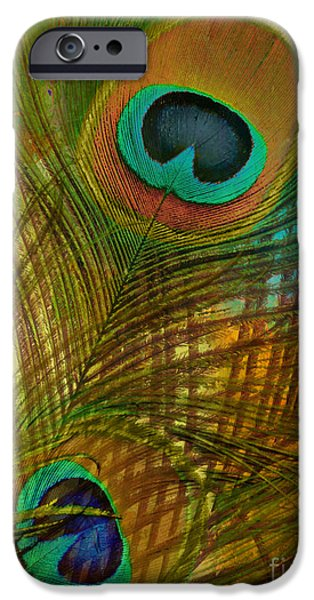 Peacock iPhone Cases - Peacock Candy Green and Gold iPhone Case by Mindy Sommers