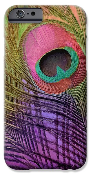 Peacock iPhone Cases - Peacock Candy Pink Green Coral iPhone Case by Mindy Sommers
