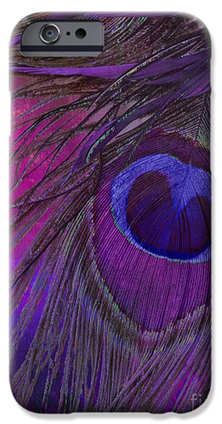 Peacock iPhone Cases - Peacock Candy Purple  iPhone Case by Mindy Sommers