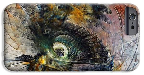 Contemporary Abstract iPhone Cases - Peacock Fan iPhone Case by Karin Kuhlmann