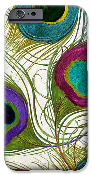 Fuschia iPhone Cases - Peacock Feathers iPhone Case by Mindy Sommers