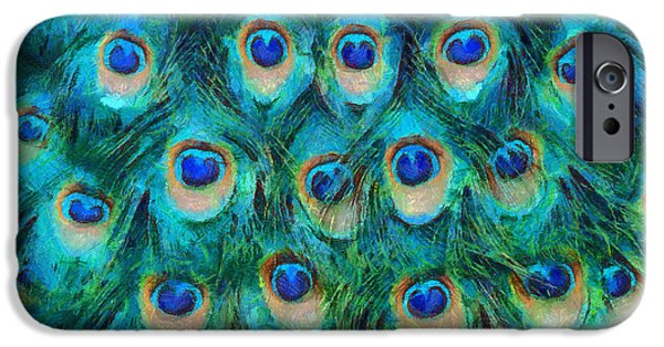Beauty Mixed Media iPhone Cases - Peacock Feathers iPhone Case by Nikki Marie Smith
