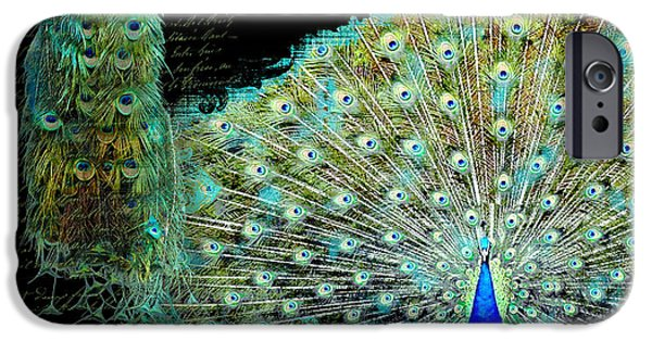 Peacock iPhone Cases - Peacock Pair on Tree Branch Tail Feathers iPhone Case by Audrey Jeanne Roberts