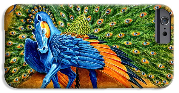 Animals Mixed Media iPhone Cases - Peacock Pegasus iPhone Case by Melissa A Benson