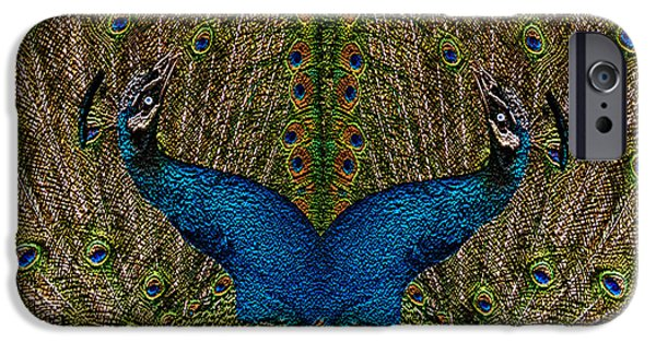 Zoological Paintings iPhone Cases - Peacocks iPhone Case by Jack Zulli