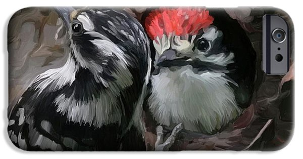 Baby Bird Paintings iPhone Cases - Peak a Boo iPhone Case by Patti Siehien
