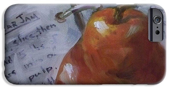 Cookbook Paintings iPhone Cases - Pear Meets Cookbook iPhone Case by Kristine Kainer