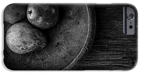 Wooden Bowl iPhone Cases - Pear Still Life in Black and White iPhone Case by Edward Fielding