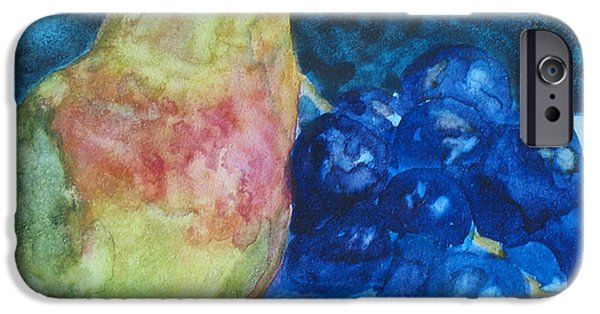 Pears Paintings iPhone Cases - Pearcial to Grapes iPhone Case by Jenny Armitage