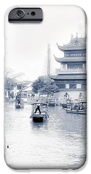 Pearl Stream River Blues - Zhujiajiao near Shanghai iPhone Case by Christine Till