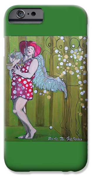 Angels Smoking iPhone Cases - Pearly iPhone Case by Darlene Graeser