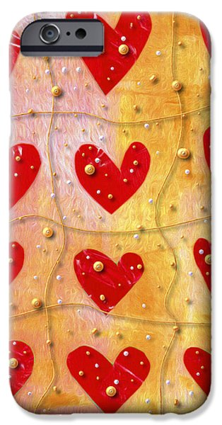 Playful Digital Art iPhone Cases - Pearly Hearts Valentine iPhone Case by Carol Leigh