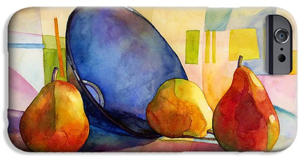 Pear iPhone Cases - Pears and Blue Ball iPhone Case by Hailey E Herrera