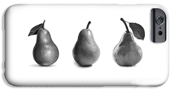 Pears iPhone Cases - Pears In Black And White iPhone Case by Mark Rogan