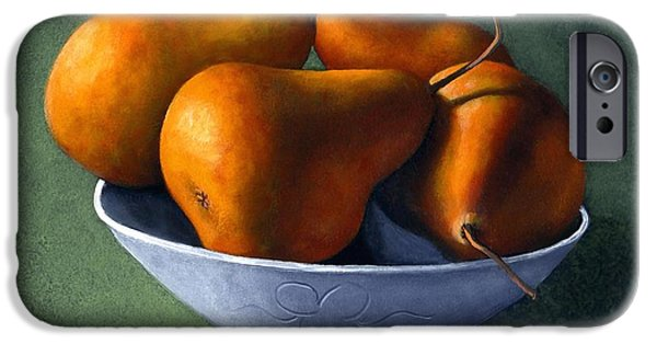 Day iPhone Cases - Pears in Blue Bowl iPhone Case by Frank Wilson
