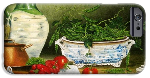 Terrene Paintings iPhone Cases - Peas in a Pod iPhone Case by Richard F Barber
