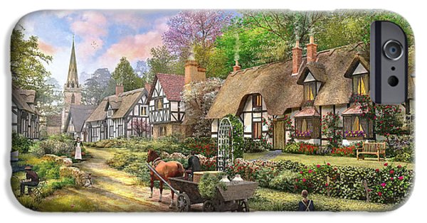 House iPhone Cases - Peasant Village Life Variant 1 iPhone Case by Dominic Davison