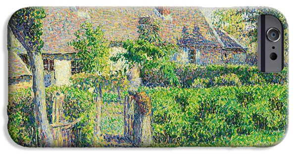 Camille Pissarro iPhone Cases - Peasants houses Eragny iPhone Case by Camille Pissarro