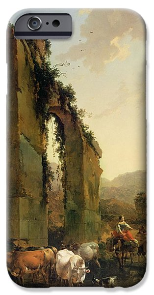 Ruins iPhone Cases - Peasants with Cattle by a Ruined Aqueduct iPhone Case by Nicolaes Pietersz Berchem