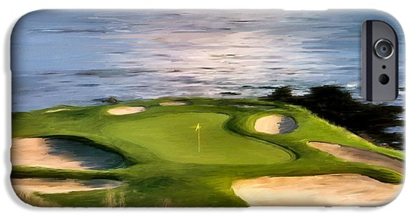 Golf Course iPhone Cases - Pebble Beach No.7 iPhone Case by Scott Melby