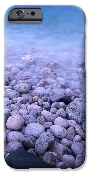 Pebble shore of Georgian Bay in winter iPhone Case by Oleksiy Maksymenko