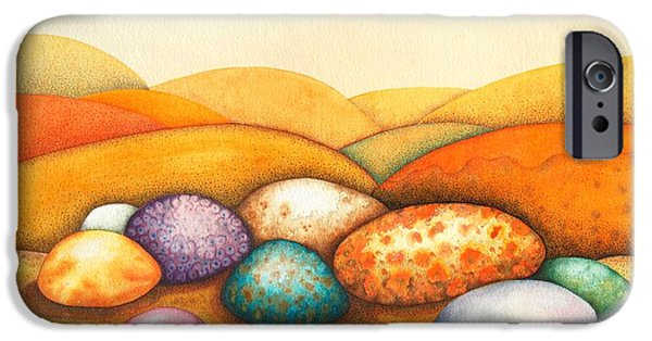 Landscapes Drawings iPhone Cases - Pebbles iPhone Case by Sandra Moore