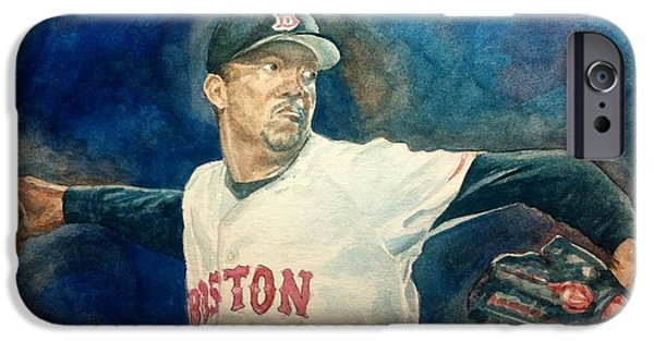 Boston Red Sox iPhone Cases - Pedro iPhone Case by Nigel Wynter