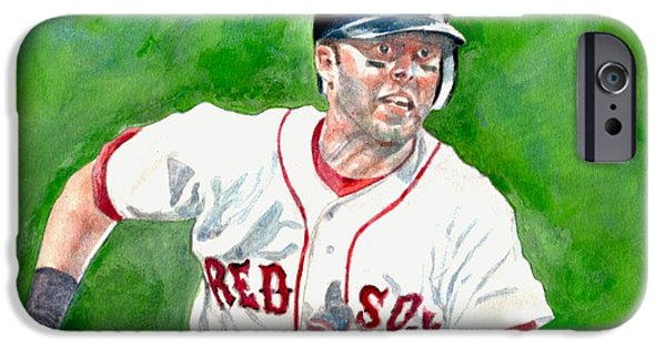 Dustin Pedroia iPhone Cases - Pedroia iPhone Case by Nigel Wynter