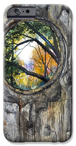 Fall Scenes iPhone Cases - Peeky Hole Through The Fence II iPhone Case by Patricia Allingham Carlson