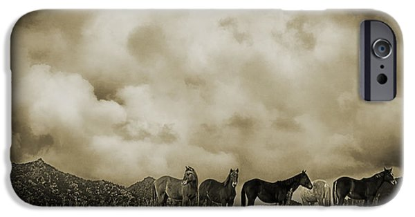 Turbulent Skies Digital Art iPhone Cases - Peeples Valley Horses in Sepia iPhone Case by Priscilla Burgers