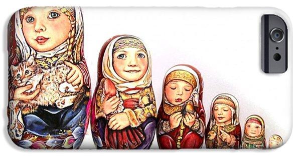 Christmas Sculptures iPhone Cases - Pelagea With Kitten iPhone Case by Viktoriya Sirris
