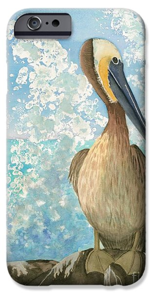 Sea Birds iPhone Cases - Pelican On The Rocks - Watercolor iPhone Case by Hao Aiken