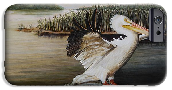 Cattails iPhone Cases - Pelicans at the Confluence iPhone Case by Rob Dreyer AFC