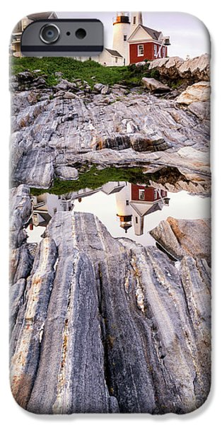 Ledge iPhone Cases - Pemaquid in Reflection Pemaquid Point Lighthouse Maine iPhone Case by Dawna  Moore Photography