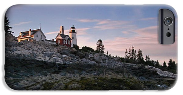 New England Lighthouse iPhone Cases - Pemaquid Point Light Panorama iPhone Case by Juergen Roth