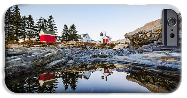 Pemaquid Lighthouse iPhone Cases - Pemaquid Point Light Reflection iPhone Case by Robert Clifford