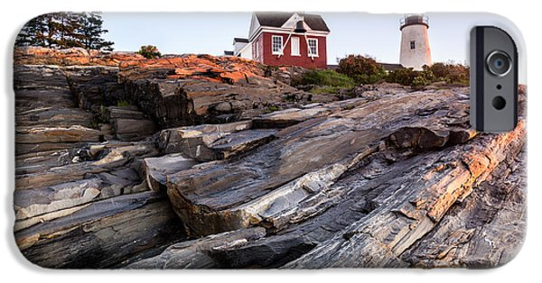 Ledge iPhone Cases - Pemaquid Point Lighthouse along Maines Rocky Coast iPhone Case by Dawna  Moore Photography