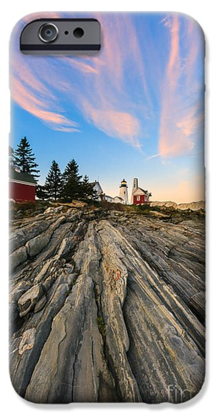 Pemaquid Lighthouse iPhone Cases - Pemaquid Point Lighthouse iPhone Case by Henk Meijer Photography