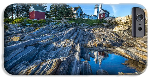 Pemaquid Lighthouse iPhone Cases - Pemaquid Point Lighthouse Maine iPhone Case by Diane Diederich