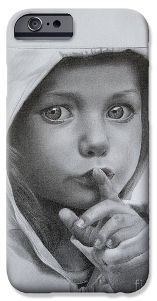 Little Girl iPhone Cases - Pencil Drawing Little Girl iPhone Case by Imad Elm