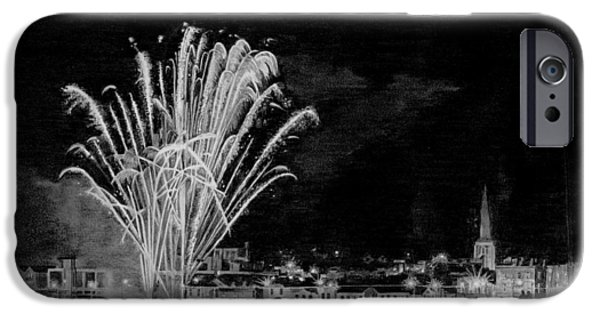 Fireworks Drawings iPhone Cases - Pencil drawing of Wexford Quay Fireworks Ireland iPhone Case by Dave Irving