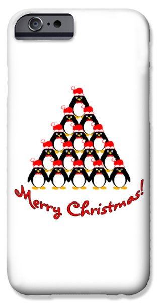 Cartoon Birds iPhone Cases - Penguin Christmas Tree iPhone Case by Methune Hively