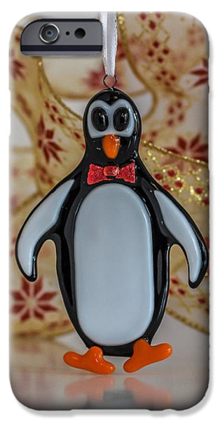 Animal Glass iPhone Cases - Penguin Ornament iPhone Case by Tamera Wohlever