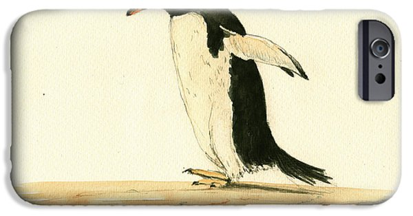 Sea Birds Paintings iPhone Cases - Penguin walking iPhone Case by Juan  Bosco